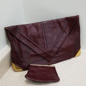 Lou Taylor vintage leather and brass clutch bag